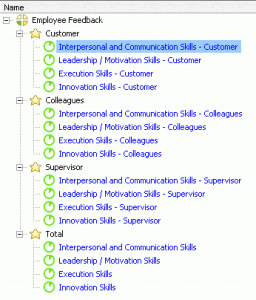 "On ""KPI Tree"" tab you have listed indicators in 4 categories - Customer, Colleagues, Supervisor, Total."